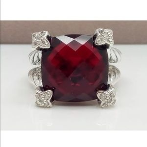 David Yurman Garnet cushion on point ring